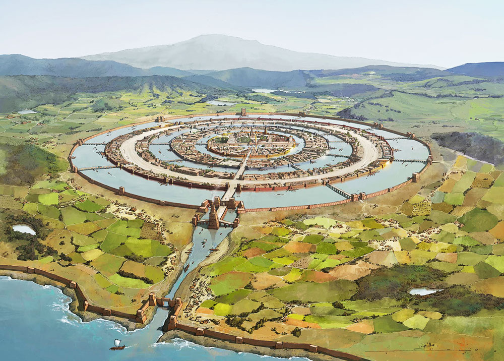 "Artist's conception of Atlantis based on Plato's description in his ""Critias"""